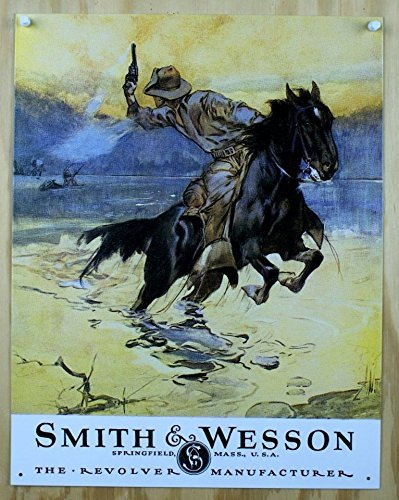 """1 X Smith & Wesson - Hostiles Metal Tin Sign 12.5"""" X 16"""" by"""