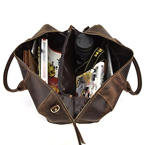 LAIDAYE Retro Herren Handtasche Gepäck Tasche Groß-Paket Paket Schulter Reisetasche Kurzstrecken-Reise Aktenkoffer Brown h5eTZesL36