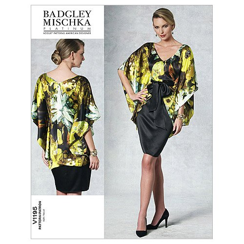 Vogue Patterns V1195 Misses' Top, Dress and Belt, Size AA - Dress Bias Plaid