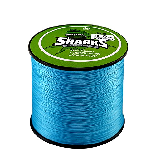 Handing Braided Fishing Line 4 Strands Super Strong PE Fishing Line for Saltwater and Fresh Water Surf Fishing Blue 500m/547yd 14-80lb Fishing Tackle