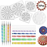 18 Pcs Mandala Dotting Tools for Painting Rocks, Mandala Rock Painting Kit with Mandala Stencil, Acrylic Rods, Double Sided Dotting Tools and Paint Tray