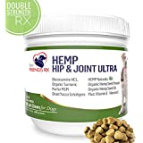 Advanced Hemp Chews for Dogs, Hip and Joint Supplement for Pain and Stress Relief, Separation Anxiety | Calming Treats | Glucosamine & Turmeric Plus Natural Hemp Oil-Infused (Maximum Potency)