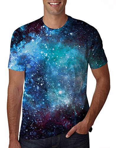 Uideazone Men 3D Galaxy Outer Space Graphics Tee Top Summer Short Sleeve T Shirts ()