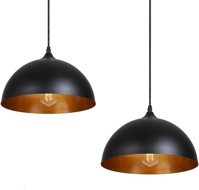 Lámpara de Techo Vintage, Tomshine 2 pack 3.94ft/1.2m Lámpara Colgante Retro de Metal,E27 Base de la Bombilla,Lámpara de Techo Industrial para Cocina Restaurante,Ø300mm