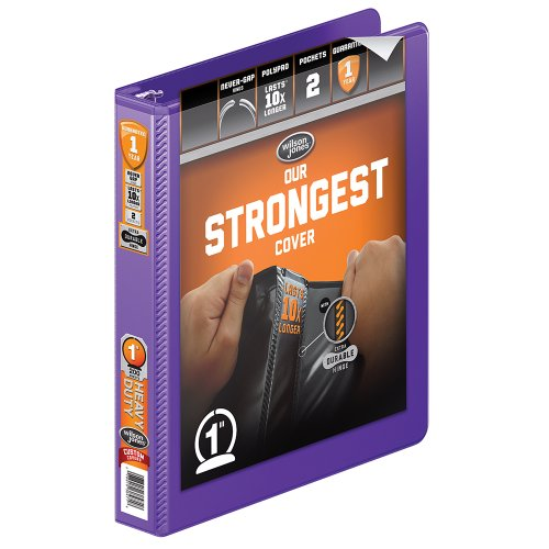- Wilson Jones Heavy Duty Round Ring View Binder with Extra Durable Hinge, 1 Inch, Customizable, Purple (W363-14-267)