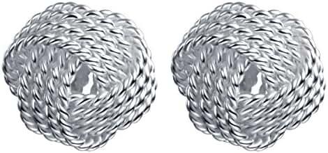 YAN & LEI Sterling Silver Classic Twisted Love Knot Earrings