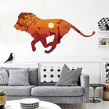 All 3D Lions Läuft Wand Aufkleber Home Decor Wohnzimmer Afrikanischen  Grasland Tiere Landschaft Wand Aufkleber