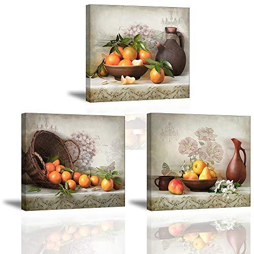 Piy Painting Cuadro en Lienzo en Cosecha de Fruta Naranja Pinturas murales Decoracion Impresiones de Lienzo Arte de La Pared para Sala de Estar Cocina Dormitorio San Valentin 30x30x2 5cm 3units