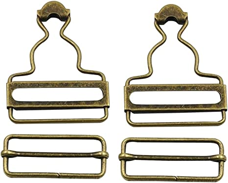 Healifty 4pcs Overall Buckles Retro Suspender Buckles Overall Clip Replacement for Trousers Cotton Jacket Jeans Bronze