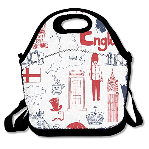 Fun Sketch England Pattern Multifunctional Lunch Tote Bag Carry Box