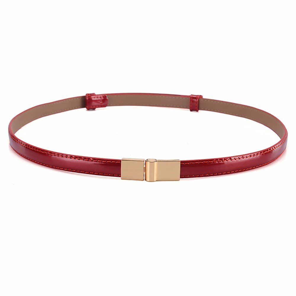 SAIBANGZI Ms Women All Seasons Fashion Leather Waist Fine Simple Decorative Dress Accessory Belt Girlfriend Present Red 94Cm