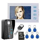 7'' LCD DVR Recording RFID Password Video Door Phone Intercom Doorbell With 8G TF Card Night Vision Security CCTV Camera Home Surveillance
