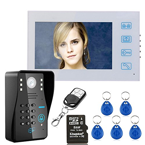 "7"" LCD DVR Recording RFID Password Video Door Phone Intercom Doorbell With 8G TF Card Night Vision Security CCTV Camera Home Surveillance"