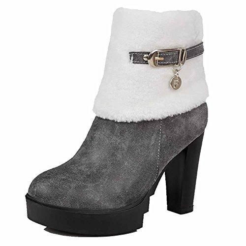 VogueZone009 Damen Hoher Absatz PU Leder Niedrig-Spitze Schnalle Reißverschluss Stiefel Grau