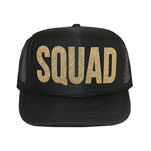 SQUAD Trucker Hat by Classy Bride (Black and Glitter Gold) (Cool Trucker Hat compare prices)