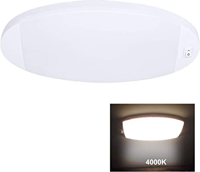 Facon RV Oval LED Large Pancake Light w//Switch for RV Camper Motorhome Camper
