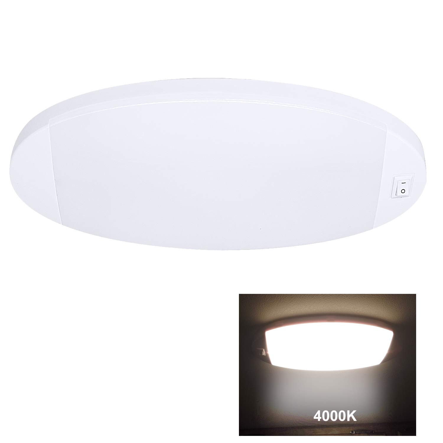 Facon Dimmable LED Puck Light Surface Mount Dome Light with Touch Dimmer Switch 12V DC Interior Light for RV Motorhome Camper Caravan Marine