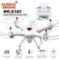 Global Drone HD Camera, CieKen 6-axes X183 With 2MP WiFi FPV HD Camera GPS Brushless RC Quadcopter (white-2)