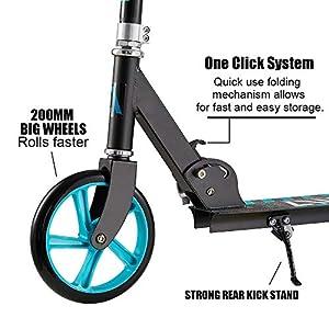 Albott Trottinette Pliable 2 Roues 200mm City Scooter Guidon réglable en Hauteur Trottinette Pliable pour Adultes et Adolescents de 8 Ans à 100kg