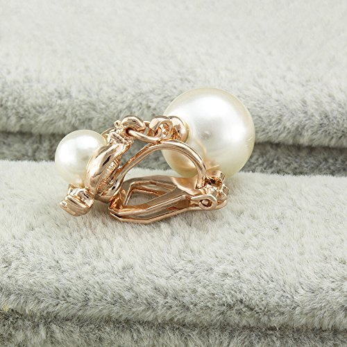 FM42 Clear Crystal Accent White Simulated Pearl Clip-on Drop Earrings E264
