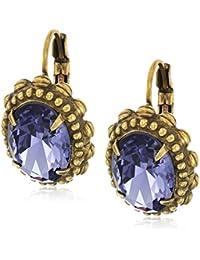 Oval Crystal Adorned Drop Earrings