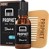 MUST HAVE Prophet and Tools Beard Oil and Beard Comb Kit! Unscented All-In-One Leave-in Conditioner, Softener, Shine and Faster Beard Growth - 0% Alcohol, Vegan and Nuts-Free
