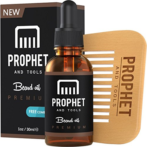 MUST HAVE Prophet and Tools Beard Oil and Beard Comb Kit! Unscented All-In-One Leave-in Conditioner, Softener, Shine and Faster Beard Growth – 0% Alcohol, Vegan and Nuts-Free