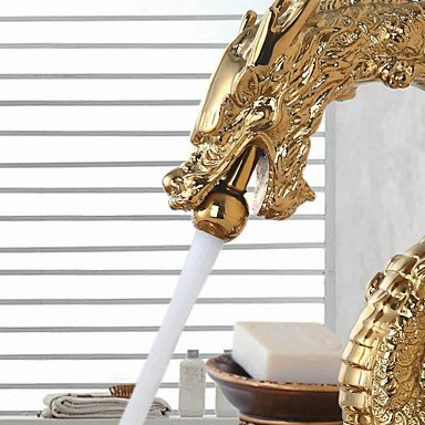MENRYANG High-End Luxury Series of Pure Hand-Made Brass Dragon Shape Bathroom Sink Faucet - Gold by MENRYANG (Image #3)