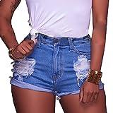 vanberfia Women's Sexy Stretchy Fabric Hot Pants Distressed Denim Shorts (JS2018212, XXL)