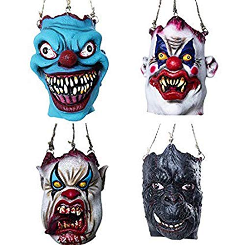 HDCRYSTALGIFTS Scary Creepy Ghost Clown Mask Prop for Haunted House Fun Party Home Decor,Pack of 4 (Prop Clown Creepy)