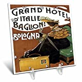 3dRose dc_129898_1 Vintage Grand Hotel D'Italie Baglioni Balogna Italy Luggage Label-Desk Clock, 6 by 6-Inch