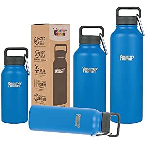 Healthy Human 16 oz Water Bottle - Cold 24 Hrs, Hot 12 Hrs. 4 Sizes & 12 Colors. Double Walled Vacuum Insulated Stainless Steel Thermos Flask with Carabiner & Hydro Guide. Color: Bahama