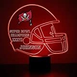 Mirror Magic Store Tampa Bay Buccaneers Football Helmet LED Night Light with Free Personalization - Night Lamp - Table Lamp - Featuring Licensed Decal