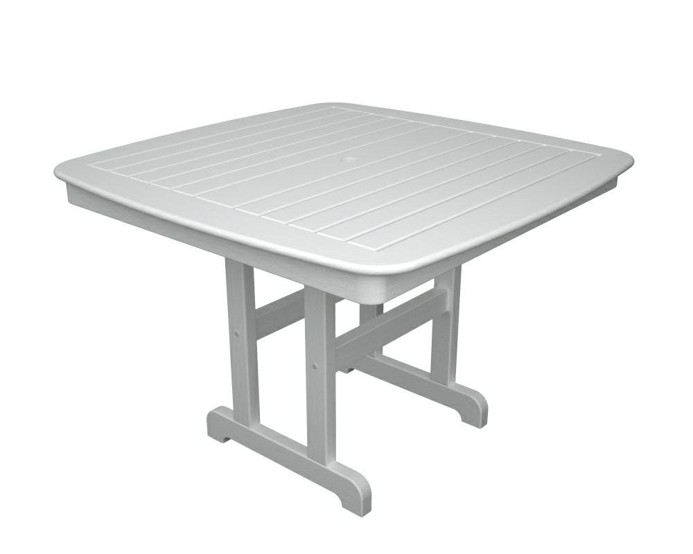 Amazon.com : POLYWOOD Outdoor Furniture Nautical 44 Inch Dining Table,  White Recycled Plastic Materials : Patio Dining Tables : Garden U0026 Outdoor Images