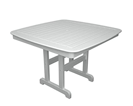 POLYWOOD Outdoor Furniture Nautical 44 Inch Dining Table, White Recycled  Plastic Materials