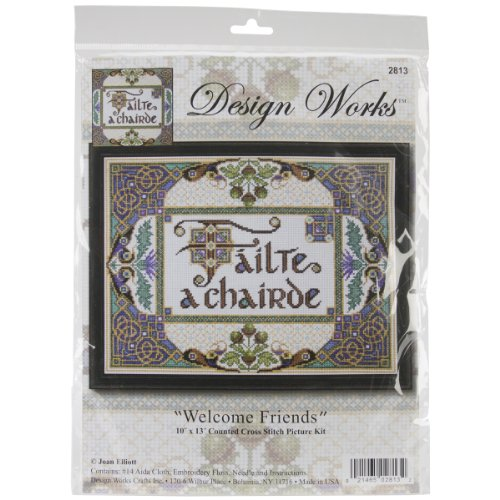 Tobin DW2813 14 Count Welcome Friends Counted Cross Stitch Kit, 10 by 13-Inch ()