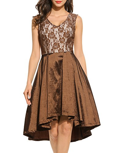 ACEVOG Womens Lace Dresses Sleeveless V Neck Casual High low Party Cocktail Dress
