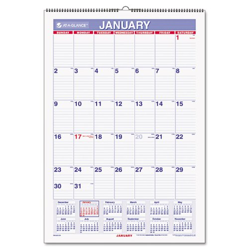 AT-A-GLANCE Monthly Wall Calendar, January 2018 - December 2018, 15-1/2