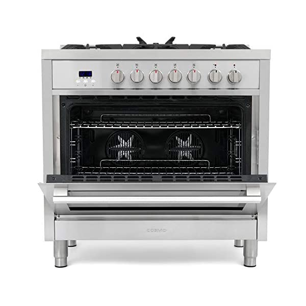 Cosmo F965 36 in. Dual Fuel Gas Range with 5 Sealed Burners, Convection Oven with 3.8 cu. ft. Capacity, 8 Functions… 3