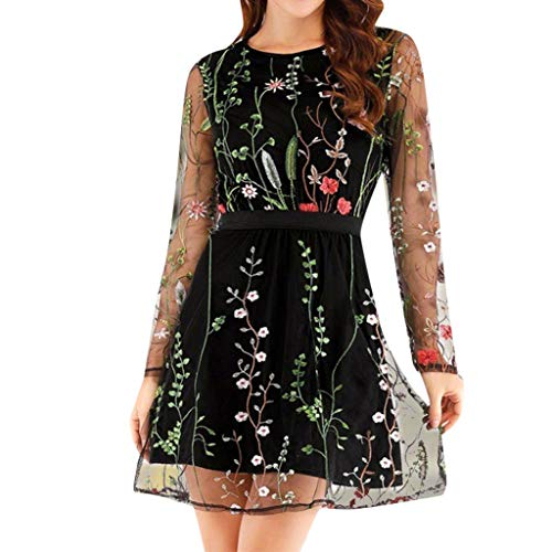 - peacur Women Long Sleeve Dresses Fashion Floral Embroidered Lace Mesh Double Layer Party Mini Dress Black