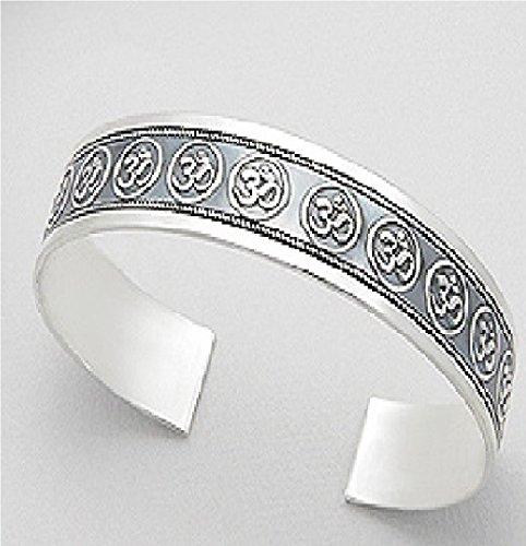 Exceptional Quality Solid .925 Sterling Silver Om Aum Ohm Mediation Yoga Buddha Buddhist symbol Tibetan Adjustable Cuff Bracelet