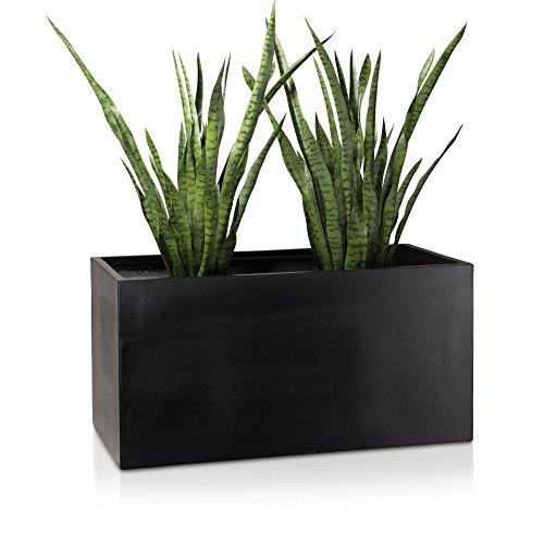 Pflanztrog Blumentrog VISIO 50 Fiberglas Blumenkübel - Farbe: schwarz matt, 100x40x50 cm - großer wetter- und winterfester Pflanzkübel für Innen & Außen, robust & UV-beständig