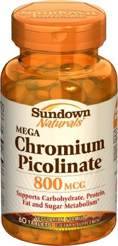 Sundown Mega picolinate de chrome, 800 mcg, 60 comprimés (lot de 2)