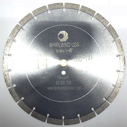 Warehouse Blade Diamond (Whirlwind USA LSS 14-Inch Dry or Wet Cutting General Purpose Power Saw Segmented Diamond Blades for Concrete Stone Brick Masonry (Factory Direct Sale) (14