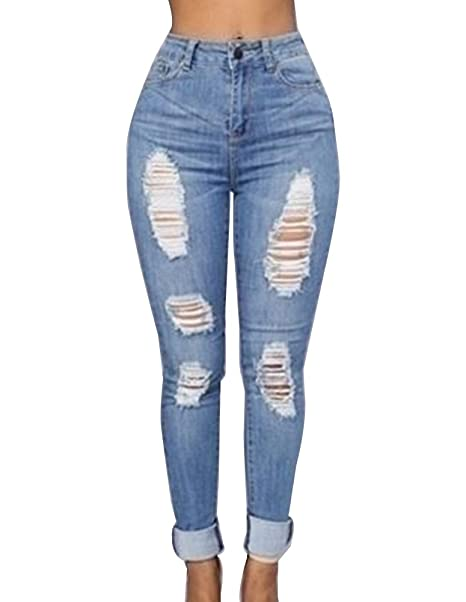 Mujer Pantalones Vaqueros Soft Lavado Rasgados Rotos ...