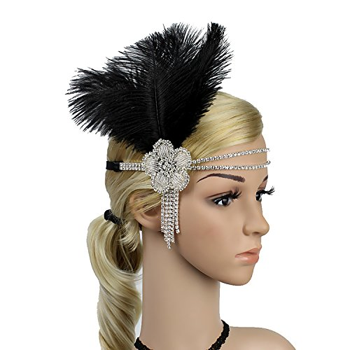 Wcysin 1920s Flapper Headband Great Gatsby Headpiece 20s Art Deco Headband -
