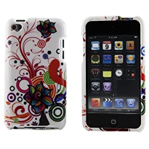 Boho Tronics ® Hard Plastic Artistic Swirls Case Cover Skin - Compatible With Apple iPod Touch 4 - Red Orange Blue Green Purple White