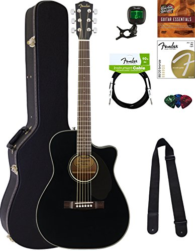 Fender CC-60SCE Concert Acoustic-Electric Guitar - Black Bundle with Hard Case, Cable, Tuner, Strap, Strings, Picks, Austin Bazaar Instructional DVD, and Polishing Cloth