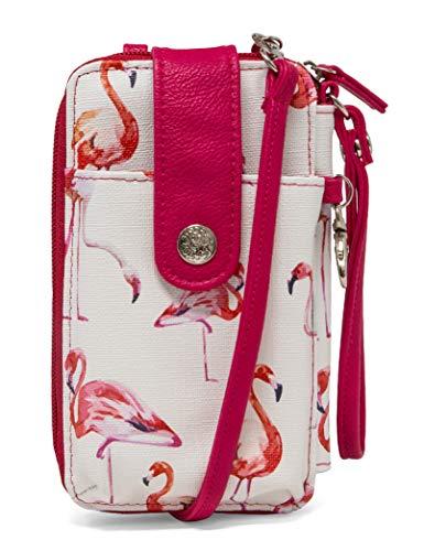 MUNDI Jacqui Vegan Leather RFID Womens Crossbody Cell Phone Purse Holder Wallet (Pink Flamingo)