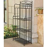 International Caravan Santa Fe Iron Folding Bakers Rack in Black